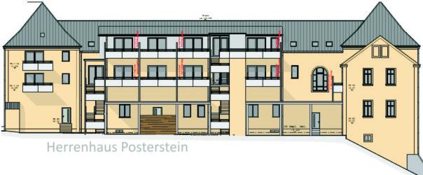 Rückansicht des Herrenhaus Posterstein nach fertiger Sanierung (Bild: Projekt Gemeinsam nicht einsam)