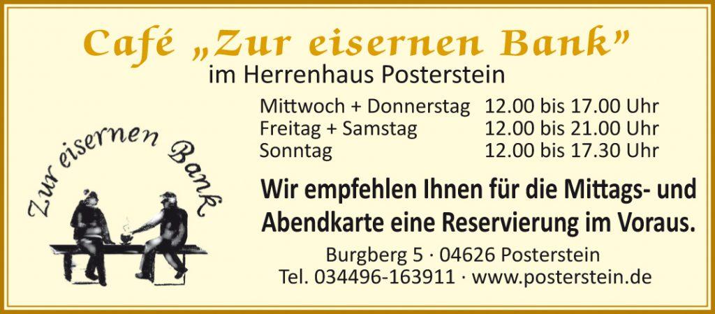 """Café """"Zur Eisernen Bank"""" im Herrenhaus Posterstein - aktuelle Öffnungszeiten und Kontakt"""