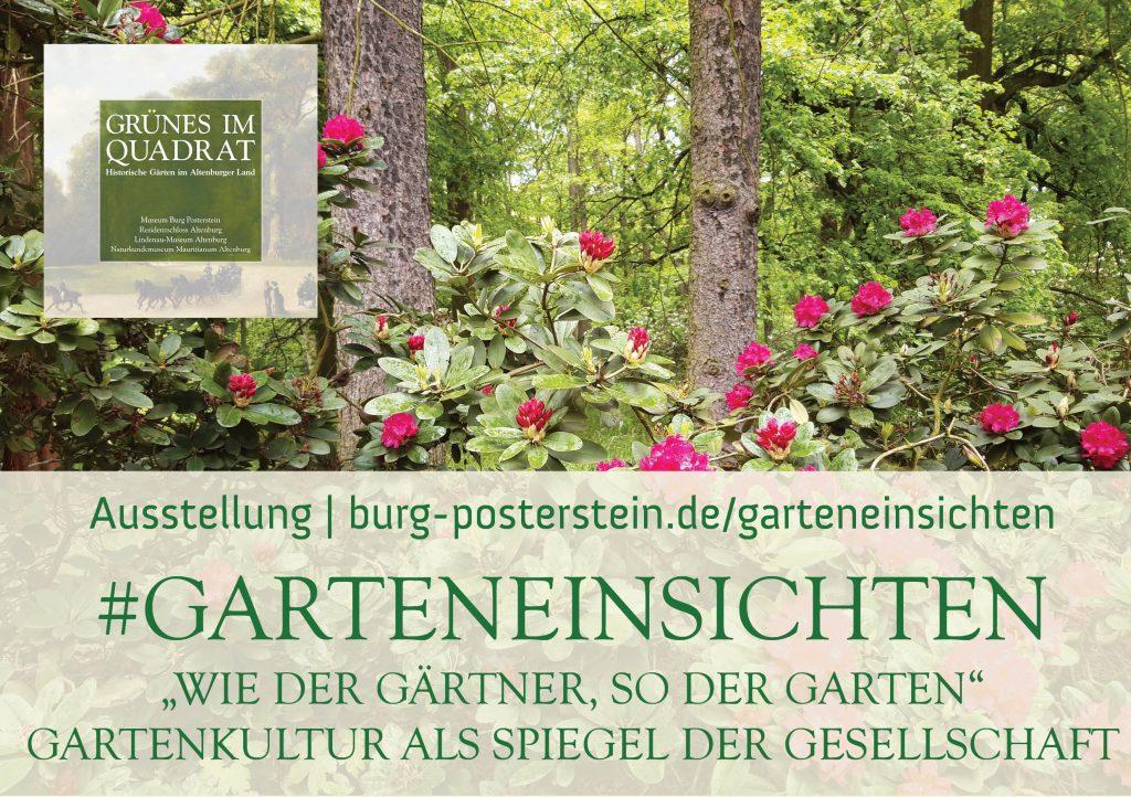 Banner Ausstellung #GartenEinsichten mit Rhododendron im Hintergrund